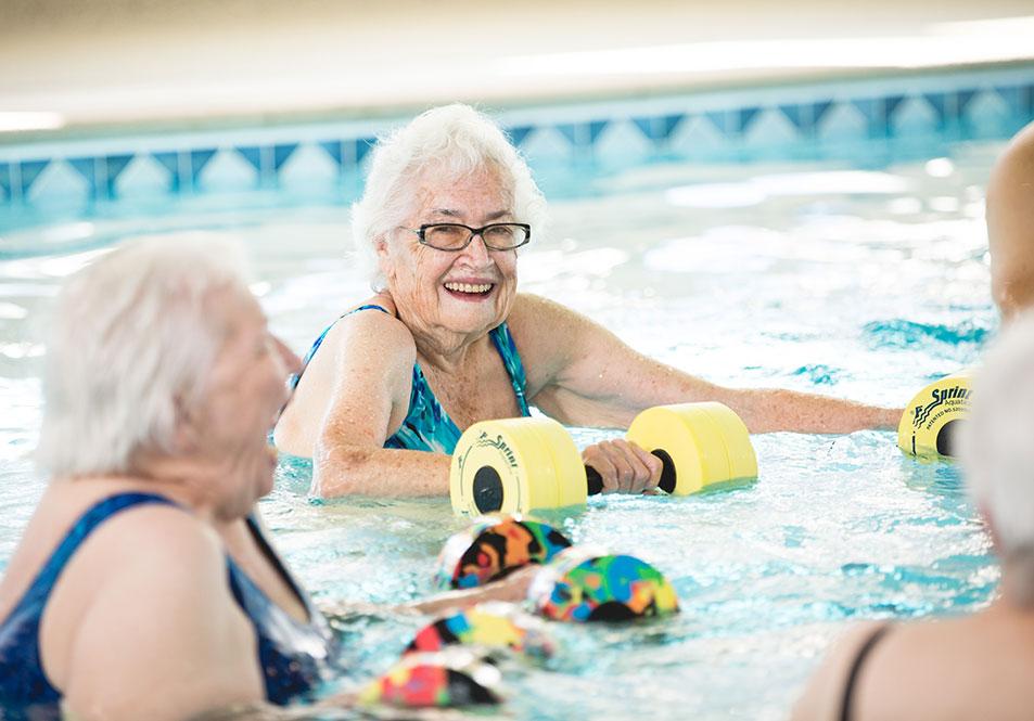 seniors in pool