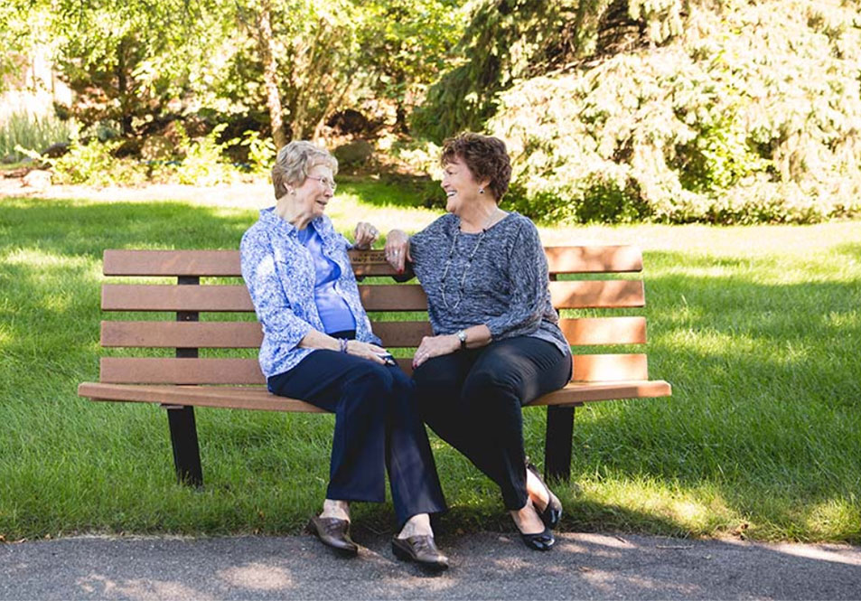 Two ladies on bench
