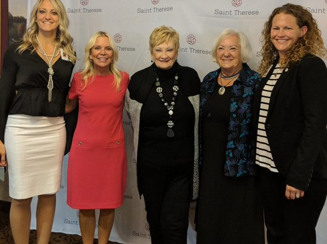 Saint Therese Executive Directors Brooke Peoples and Dinah Martin-Kmetz are joined by Senator Housley, Saint Therese resident Judy Kresge, Mayor Hemken during the Safe Care for Seniors event on October 23.