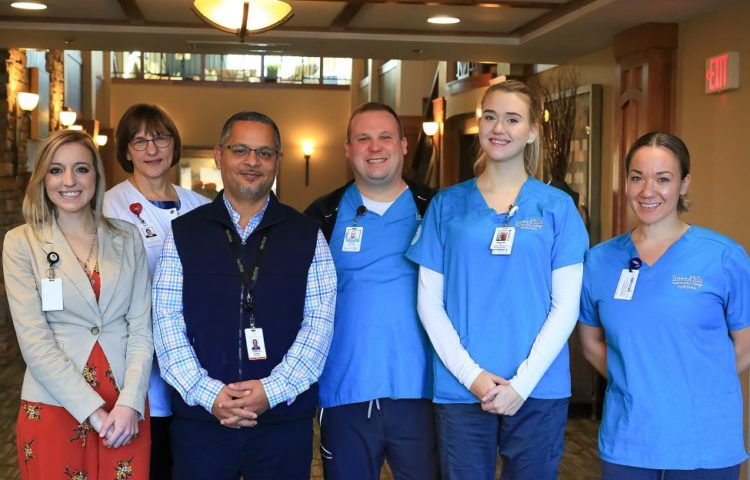 (left to right) Executive Director of Saint Therese of Woodbury Katelyn Nowack, Inver Hills Nursing Student Amy Matthys, Saint Therese of Woodbury Clinical Director Chris Armstrong, Inver Hills nursing student Nick Welisevich, Inver Hills nursing student Hannah Mesmer and Inver Hills nursing student Erica Rgnonti at Saint Therese of Woodbury