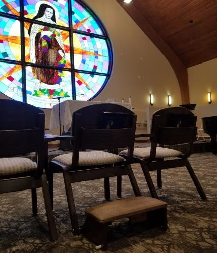 Kneelers at Saint Therese of Woodbury  handmade by resident Harold Hansen.